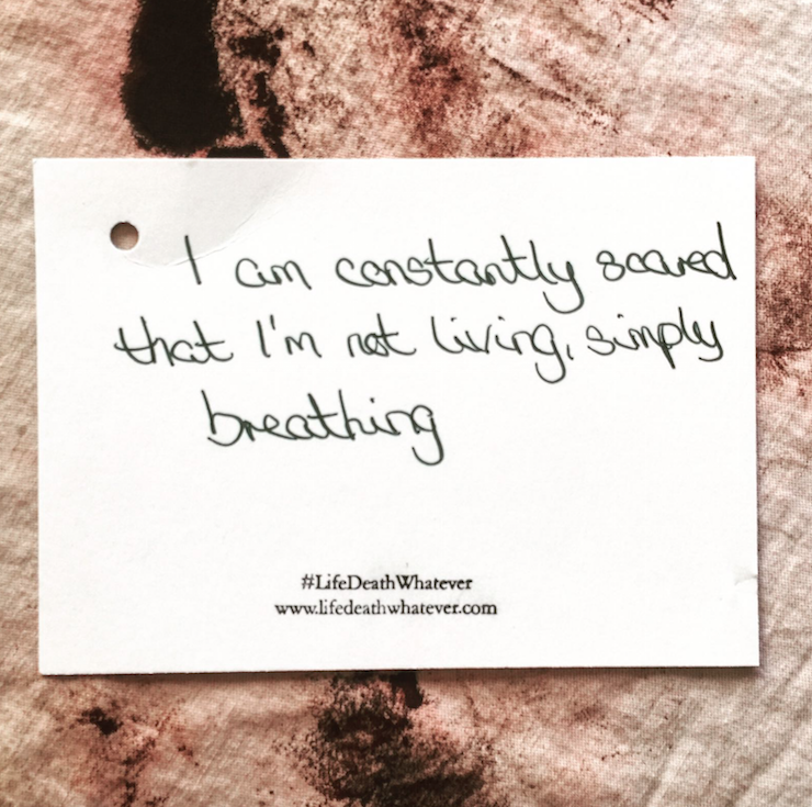 """I am constantly scared that I'm not living, simply breathing."" #unsaid #lifedeathwhatever"