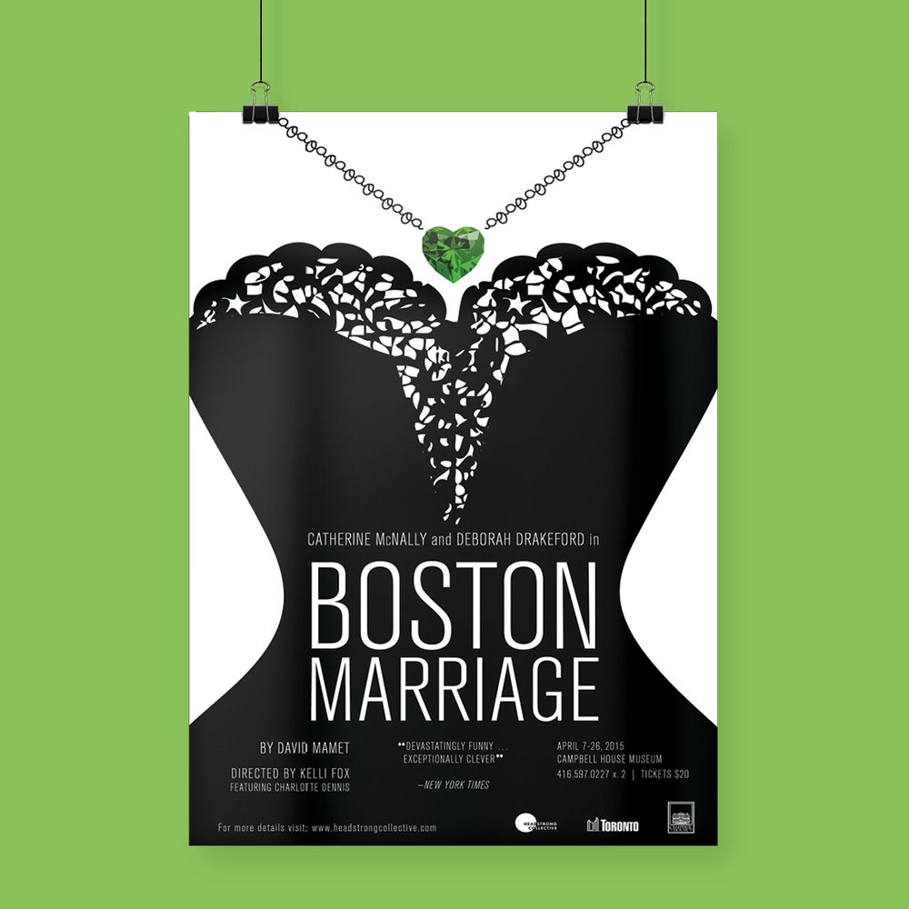 Poster design by Sarah Beaudin for Boston Marriage, produced by Headstrong Collective.