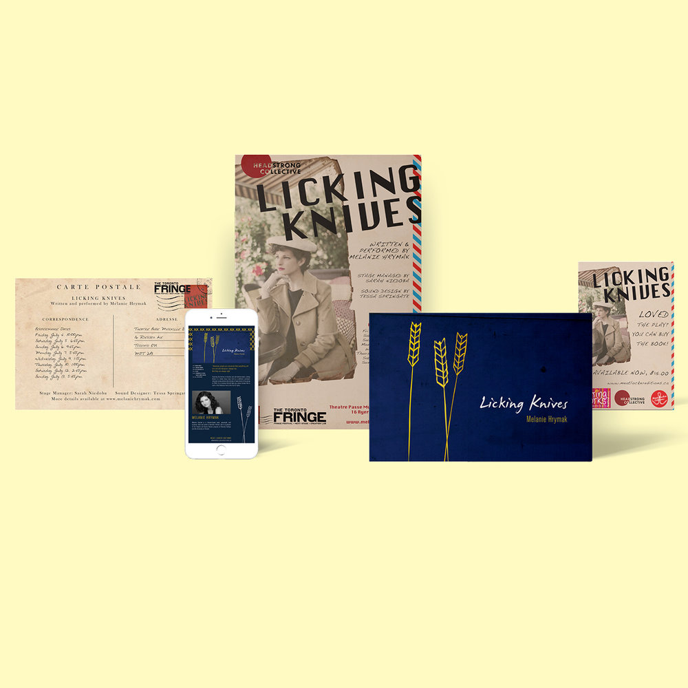 Marketing design materials, including poster, author background, and postcards for  Licking Knives  by Melanie Hrymak.