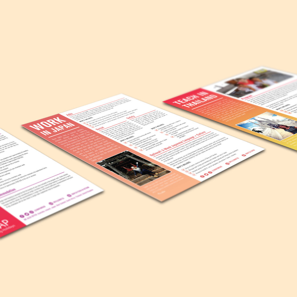 Info sheets designed by Sarah Beaudin for the Japan and Thailand programs provided by SWAP Working Holidays