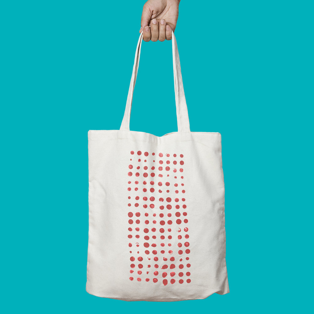 Hand-painted tote bag for  Gross  by Dave Proctor, designed by Sarah Beaudin.