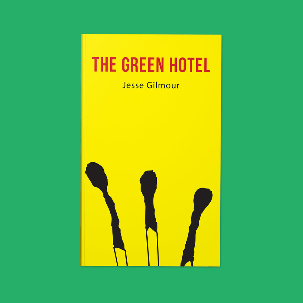 The Green Hotel  by Jesse Gilmour Cover design by Sarah Beaudin. Publisher: Quattro Books   Genre: Fiction  Cover features the silhouette of three burned matches on a bright yellow background.
