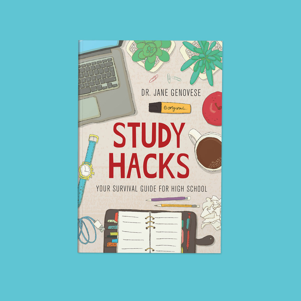 Study Hacks  by Dr Jane Genovese Cover design by Sarah Beaudin. Publisher: Learning Fundamentals | Genre: Non-fiction, self-help  Cover features an illustrated desk scene, including a laptop, agenda, coffee, pencils, watch, and plants.