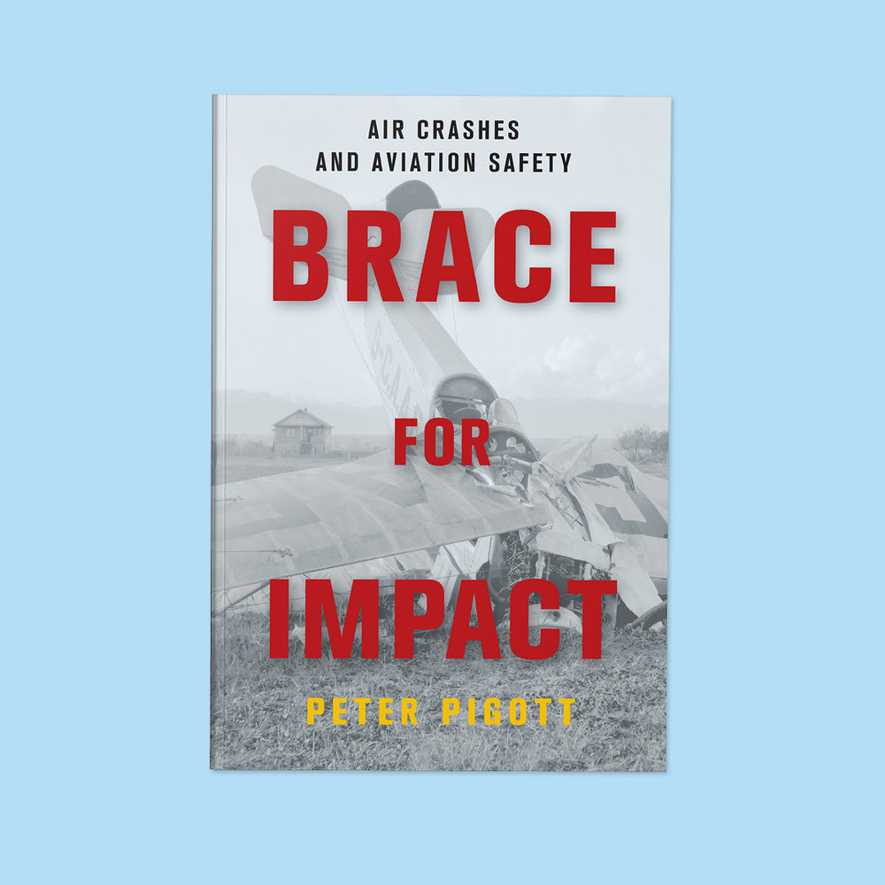 Brace for Impact  by Peter Pigott Cover design by Sarah Beaudin. Publisher: Dundurn Press | Genre: Non-fiction  Cover features black and white photo of small pane crashed nose-first into the ground.