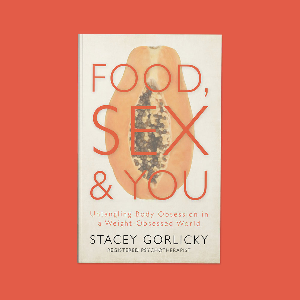 Food, Sex, and You  by Stacet Gorlicky Cover design by Sarah Beaudin. Publisher: Dundurn Press | Genre: Self-help, non-fiction  Cover features half a papaya filled with black seeds on an off-white background. The title is large sans serif letters across the fruit.