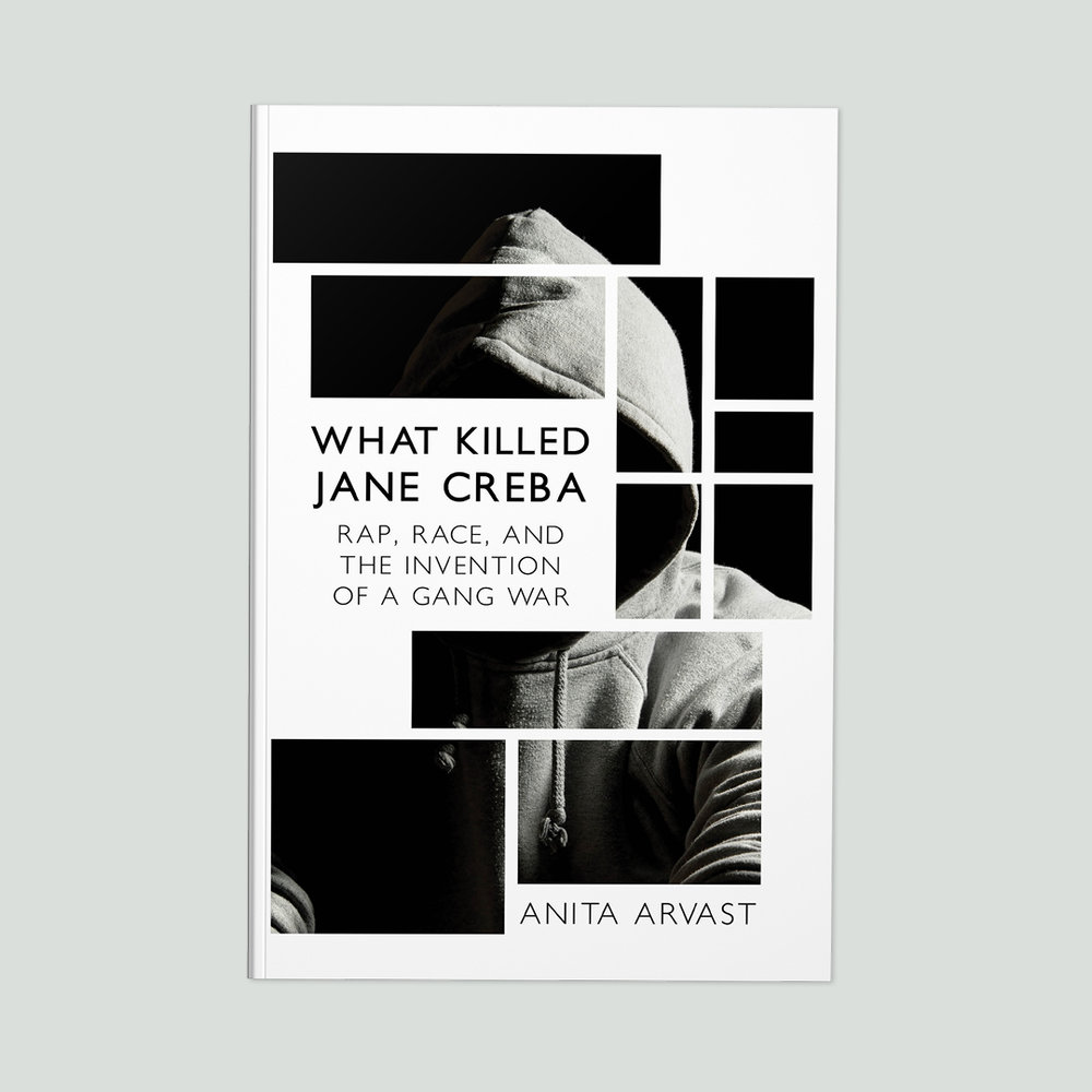 What Killed Jane Creba  by Anita Arvast Cover design by Sarah Beaudin. Publisher: Dundurn Press | Genre: Non-fiction  Cover features a black and white photo of a hooded person, cut into a linear mosaic.