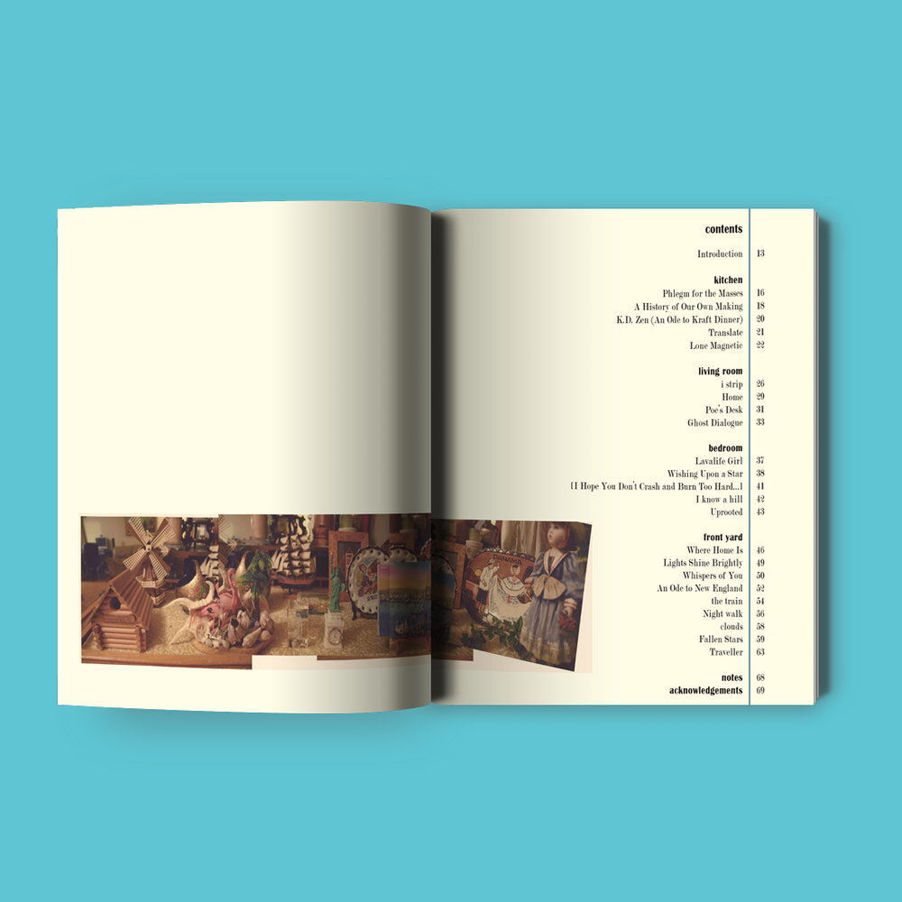This Place  by the Society of the Spoken Word Cover design and typesetting by Sarah Beaudin. Publisher: Professional Vagrant Press | Genre: Poetry, anthology  Interior pages featuring table of contents and a collage of photos featuring knick-knacks.
