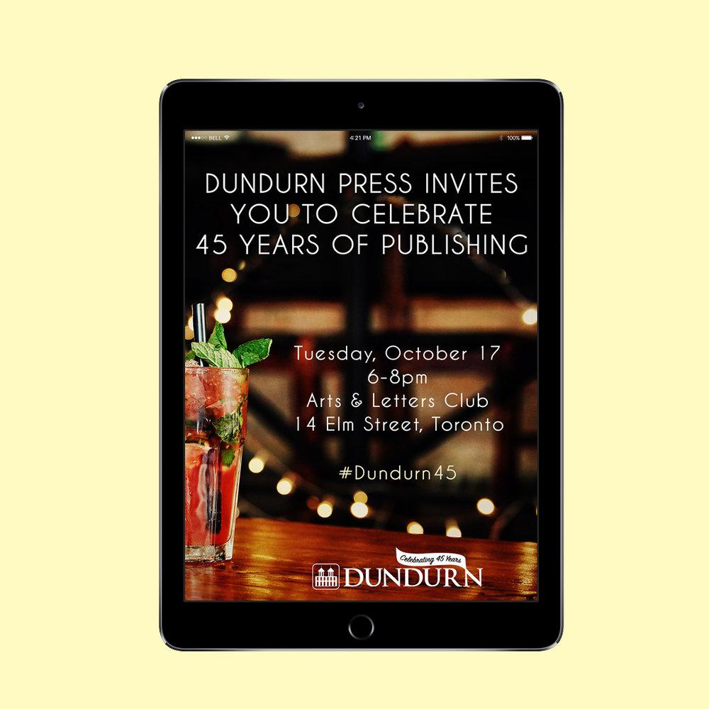 Evite / digital invitation for Dundurn Press' 45th Anniversary.