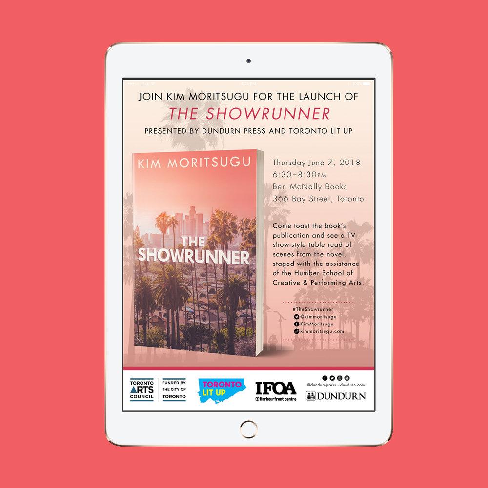 Evite \ digital invitation for the book launch of  The Showrunner  by Kim Moritsugu.