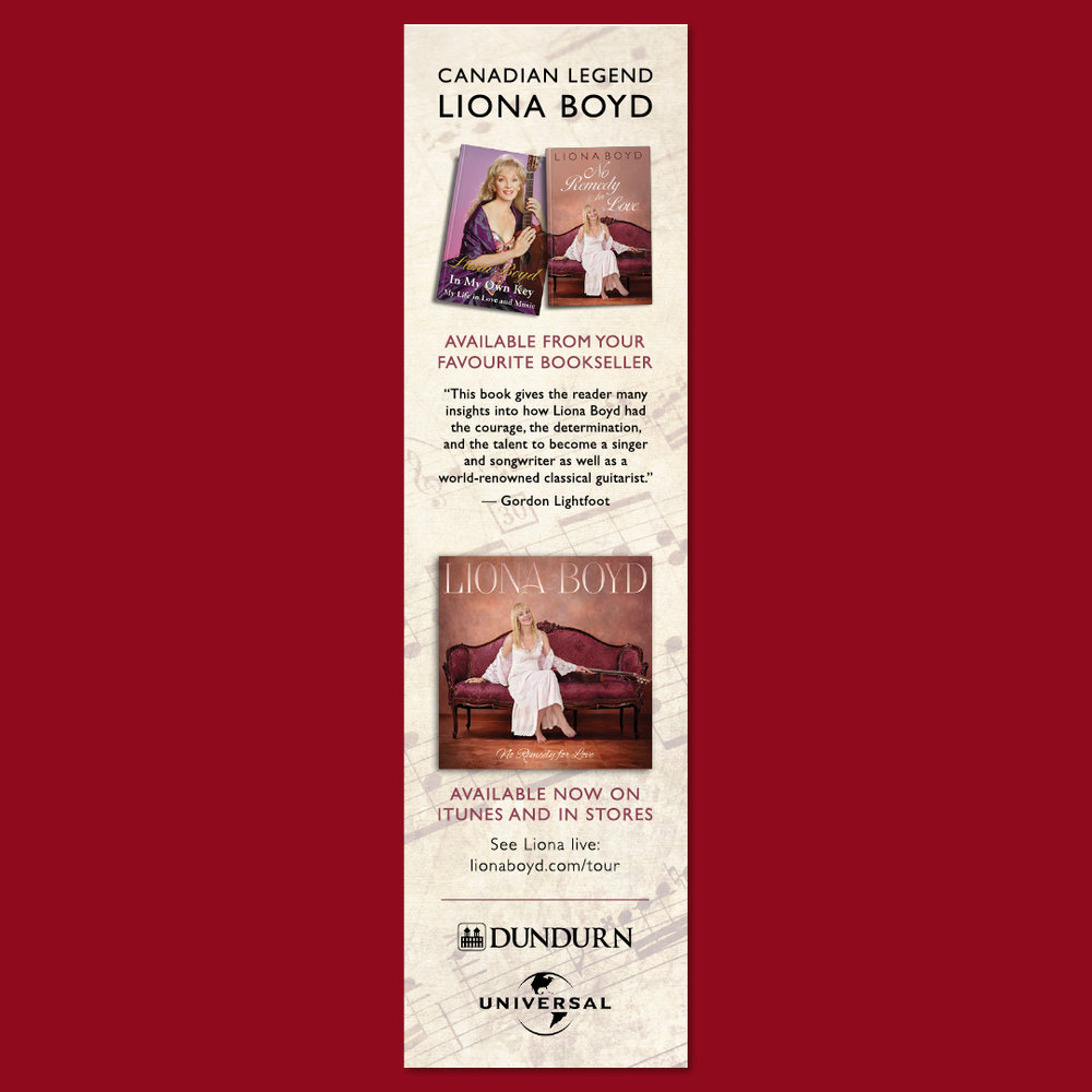 Print ad design by Sarah Beaudin for  In my Own Key  by Liona Boyd, and  No Remedy for Love  by Liona Boyd