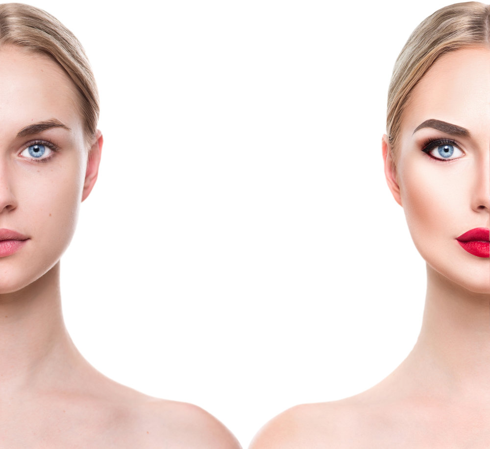 Comparison side by side portrait of a young beautiful woman with