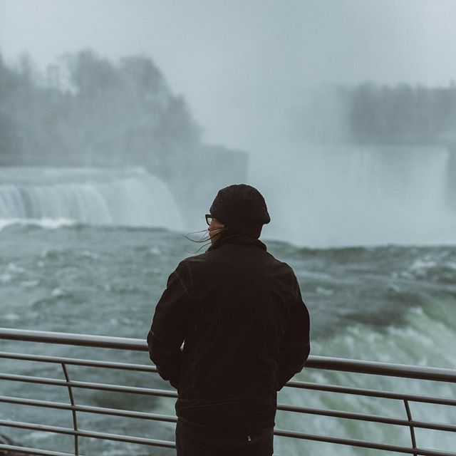 Wanderer above the falls. . . . Photo @pbcrosby