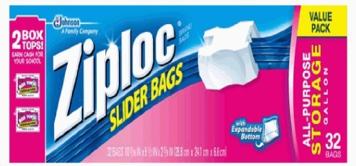 (1) 32-Count Ziploc Gallon Storage Bags - Approximate Cost $4.50