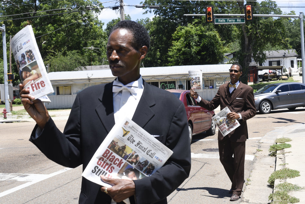 Brother Louis Smith and Brother Gerald Muhammad with the Nation of Islam distribute The Final Call, noted A Message Dedicated to the Resurrection of the Black Man and Woman of America and the World, at the corner of Halls Ferry Road and Bowmar Avenue Wednesday.(Courtland Wells/The Vicksburg Post)