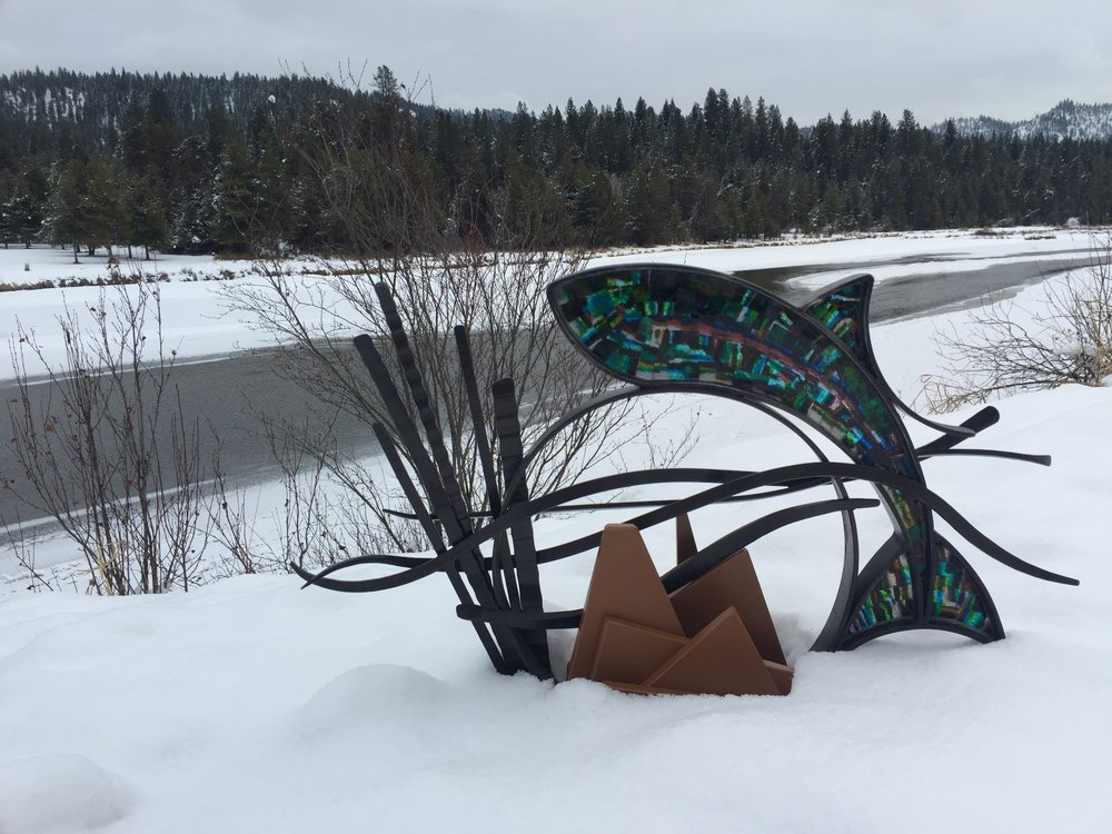 Brook Trout , Forged and fabricated steel, kiln-formed glass