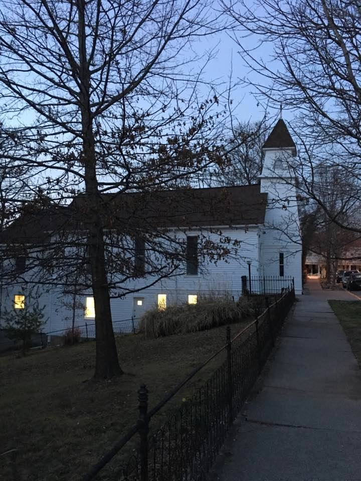 a church with its lights on... Gigi Cottrell