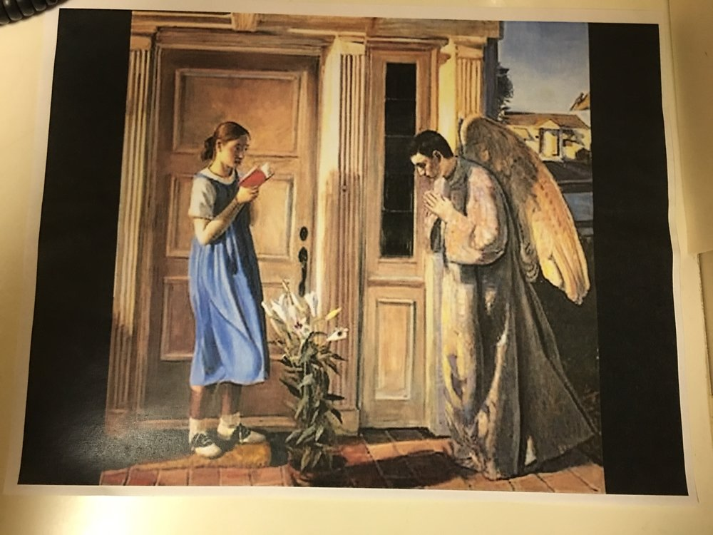 Annunciation by John Collier at St. Gabriel's Church, McKinney Texas