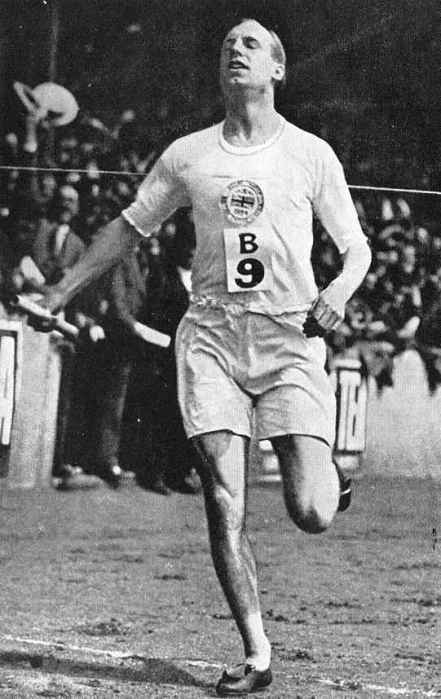 "Eric Liddell at the Paris Olympics, 1924. He won gold and set a world's record in the 400 meters, then grabbed a bronze in the 200, but his best event was the 100 meter dash. When his preliminary heat was scheduled for a Sunday, he refused to run because he considered it the Sabbath, a principled stand immortalized in the film ""Chariots of Fire."" But his return to China and service to fellow prisoners of war are why we celebrate him today; he was held in a POW camp by the Japanese from 1943 and later given a chance at a prisoner exchange with the British, but he gave his place to a pregnant woman instead.    Josh Thomas, Dailyoffice.wordpress.com,"