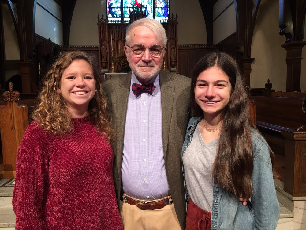 a grandfather and two granddaughters who are graduating next week