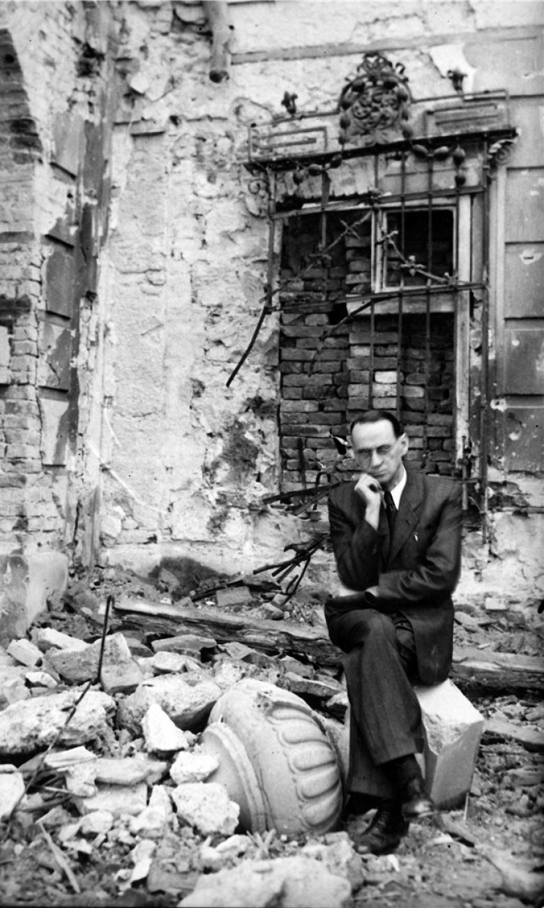 Lutz in bombed garden of British legation