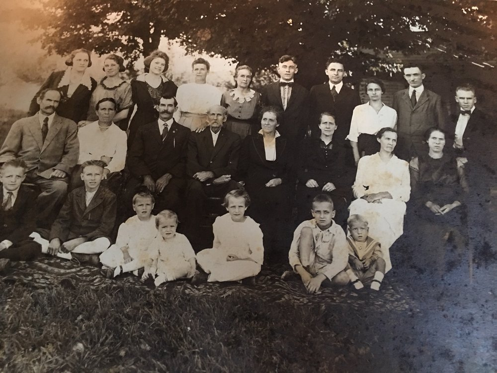 my grandfather and his 20 brothers and sisters ( handsome one 3rd from left back row)