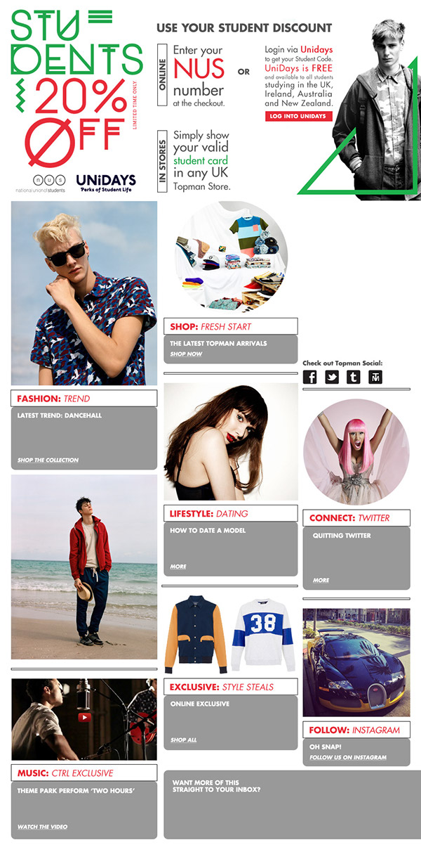 Student discount landing page | click to view