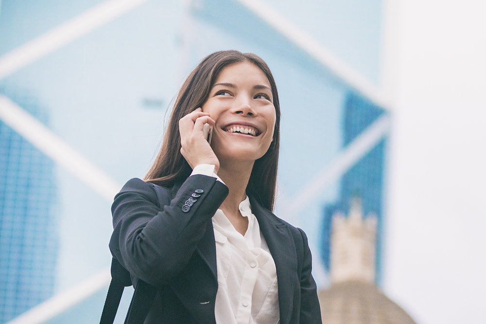 businesswoman call from anywhere