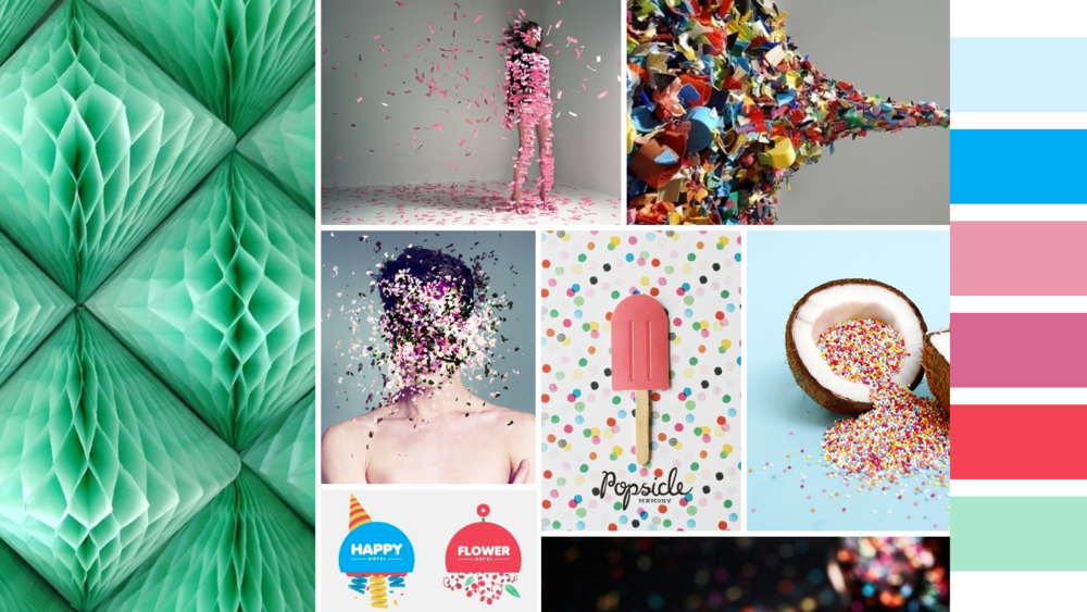 """Confetti"" moodboard:  the personal nature of parties and confetti inspired this approach."