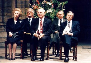 Michael Novak with Lady Thatcher and others at Westminster Abbey.