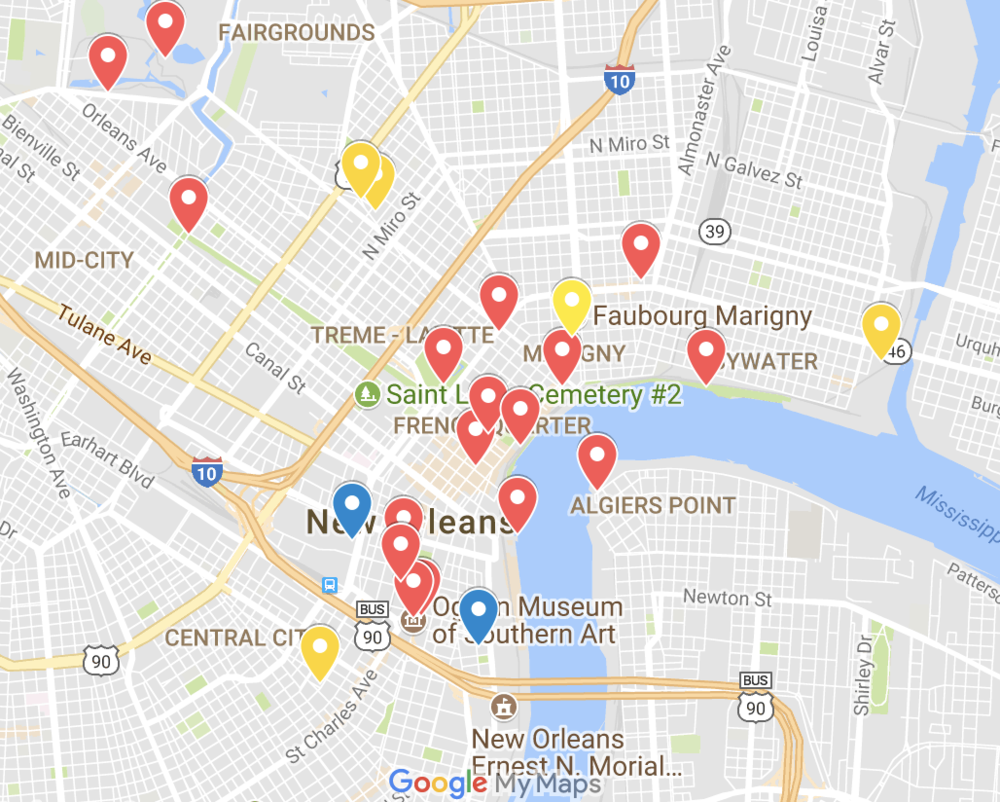 Google Map of P.4 Venues and Sites — Prospect New Orleans