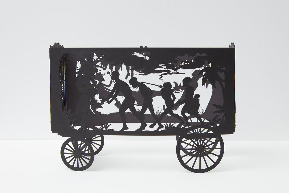 Kara Walker Maquette for The Katastwóf Karavan, 2017 Laser cut paper 8.75 x 13.125 x 5 inches (22.2 x 33.3 x 12.7 cm) Courtesy of the artist and Sikkema Jenkins & Co., New York Photo: Jason Wyche