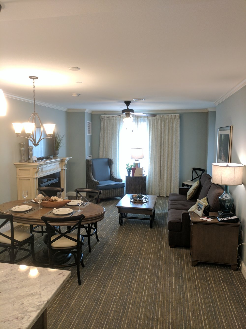 Our suite's open floor plan