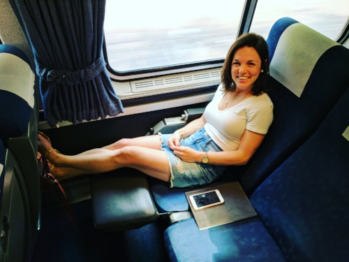 Enjoying the ease of travel on Amtrak down to New York City.