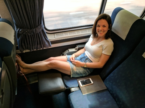 Look at that legroom! A very comfortable ride for a short train trip.
