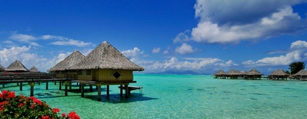 Over-water bungalow at the Intercontinental Bora Bora.