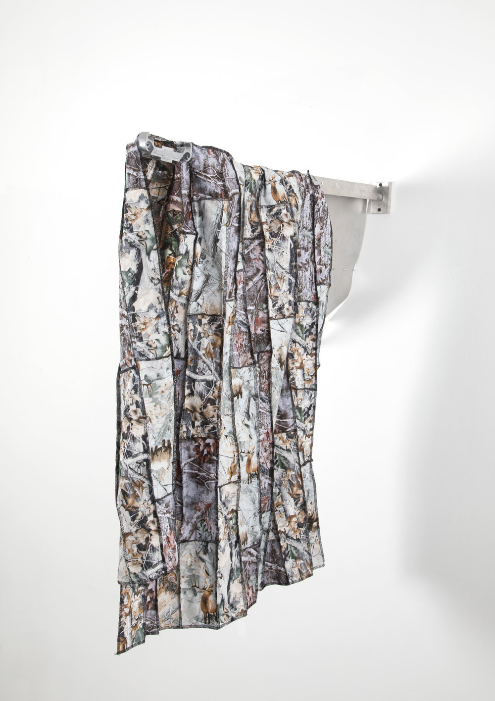Reversed, 2018  realtree camo fabric, aluminum, aluminum casted chevy logo, rivets