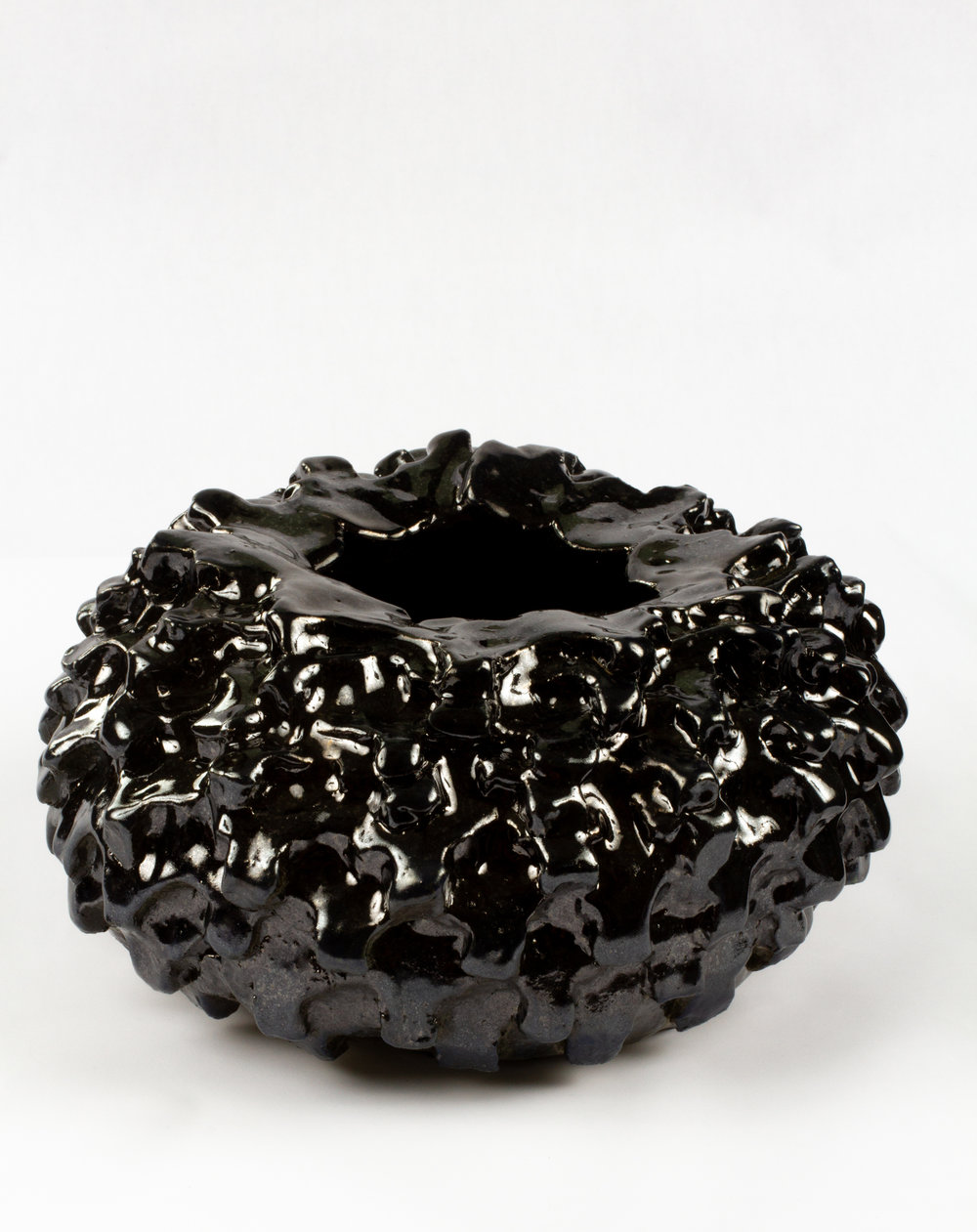 Murdered out Bowl (small tire), 2018  glazeware  10 x 10 x 6 inches