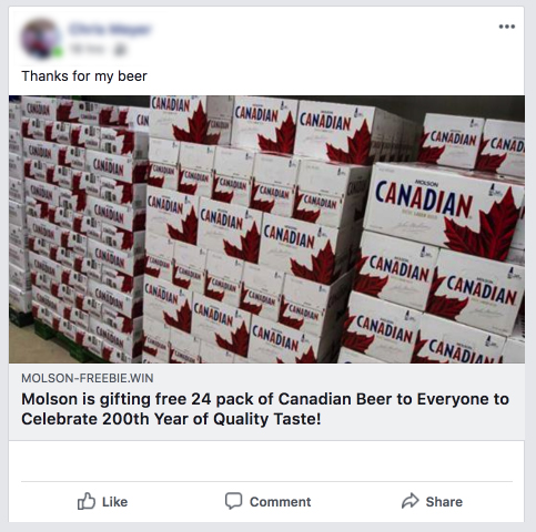 This scam appeared over the summer targeting Canadians with an offer from a popular major brewery.