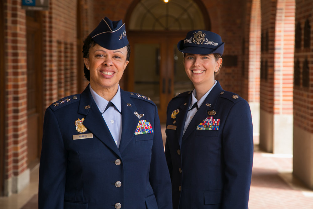 Lt. Gen. Stayce D. Harris (left): A University of Southern California alumna and the current Inspector General of the United States Air Force.  Lt. Col. Olivia D. Nelson (right): Current Department Chair of Aerospace Studies, University of Southern California.