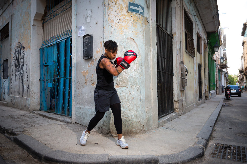 We took the famous Cuban boxer Namibia out into the streets.