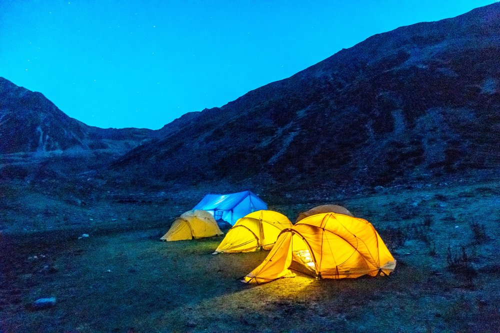 Our camp at Dusk. Tenting all the way. No lodges were we are.
