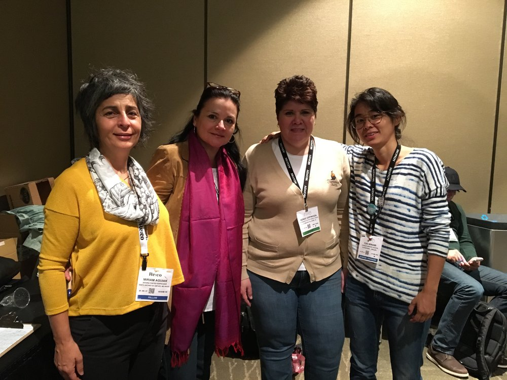 At IWCA cupping with Miriam Monteiro, IWCA Brazil vice-president, Blanca Castro, IWCA global manager, and Renee Espinoza, from Firedancer Coffee Consultants, volunteer company at the organization of IWCA cupping