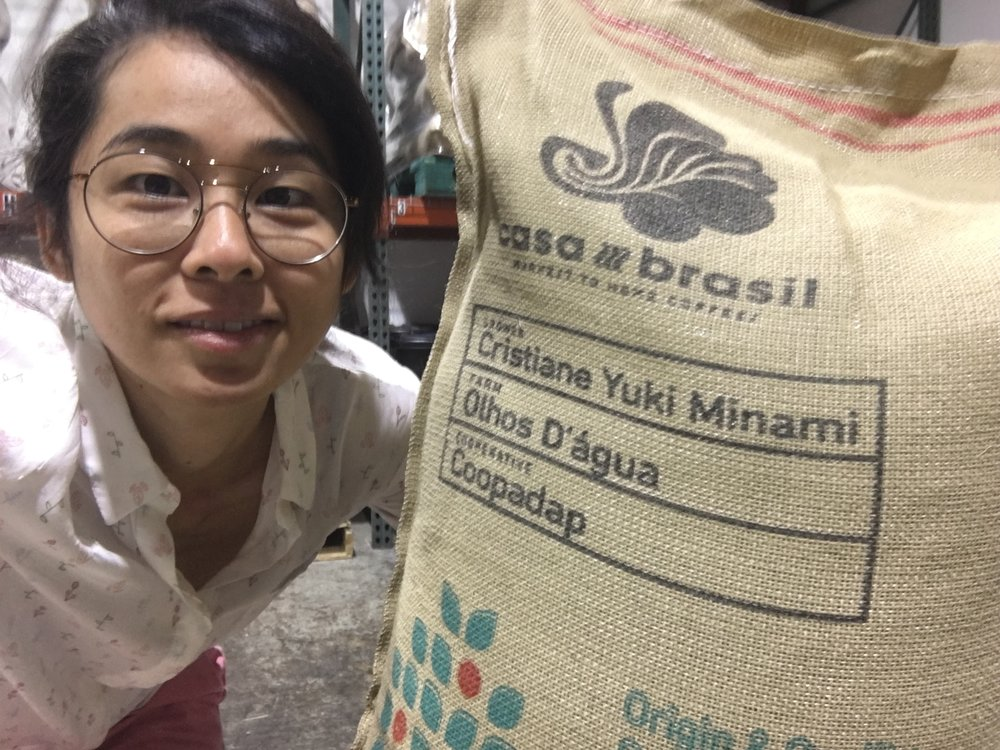 Selfie with the customized coffee bag for the project