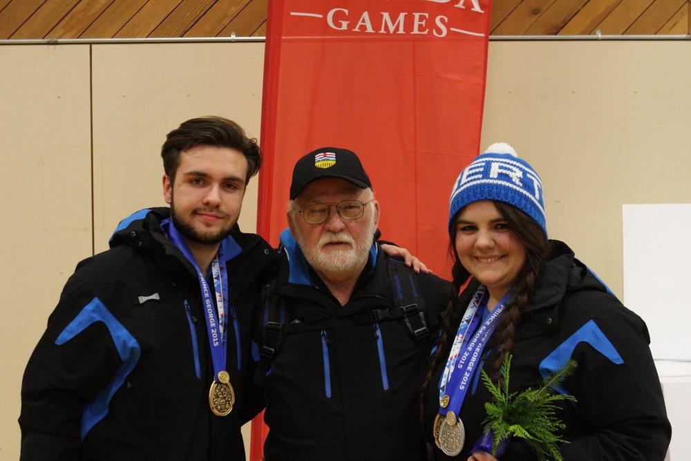 2015 Canada Winter Games, Prince George, BC Peter Schulze (Gold, AP60 Team), Coach Arno Baron, Veronika Schulze (Gold - AP40 Team, Silver - AP40 Individual)