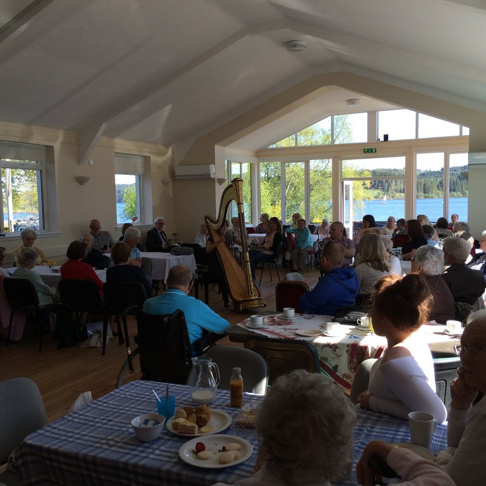Enjoying the sunshine at Kinlochard village hall for my (now annual) spot at the Contact the Elderly birthday tea party