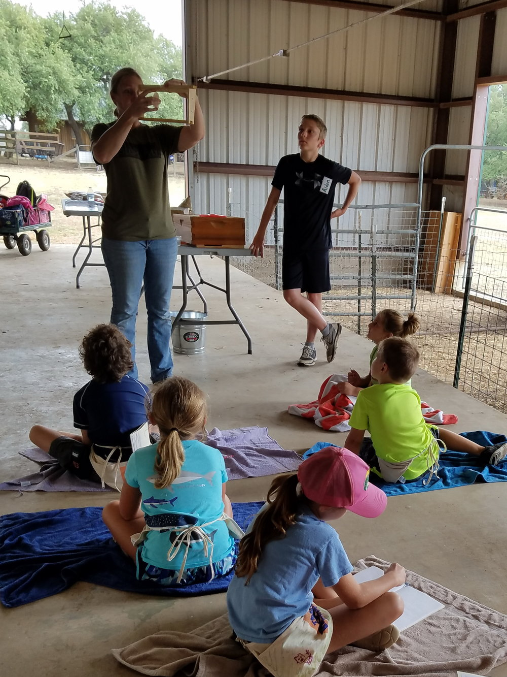 Although the children didn't visit the hives in the field, Farmer Amy explained the process and showed the children all of the equipment needed while explaining how the bees make honey.