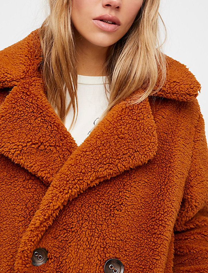 - Free People Teddy Peacoat in Copper, $128In what is arguably the color for fall the rusty hue of this coat adds to the cozy appeal.