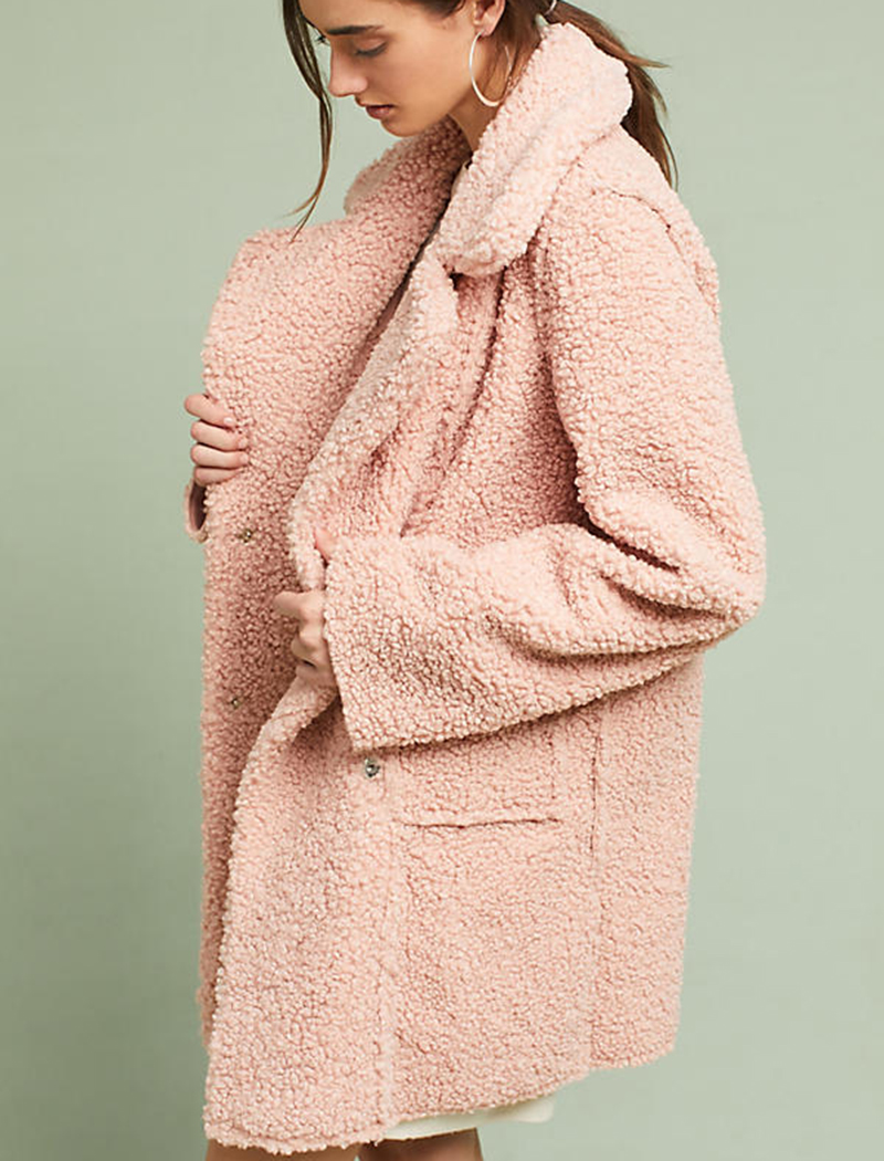 - Anthropologie, Blushed Sherpa Coat, $178Millenial pink feels fresh again with this statement-making oversized coat.