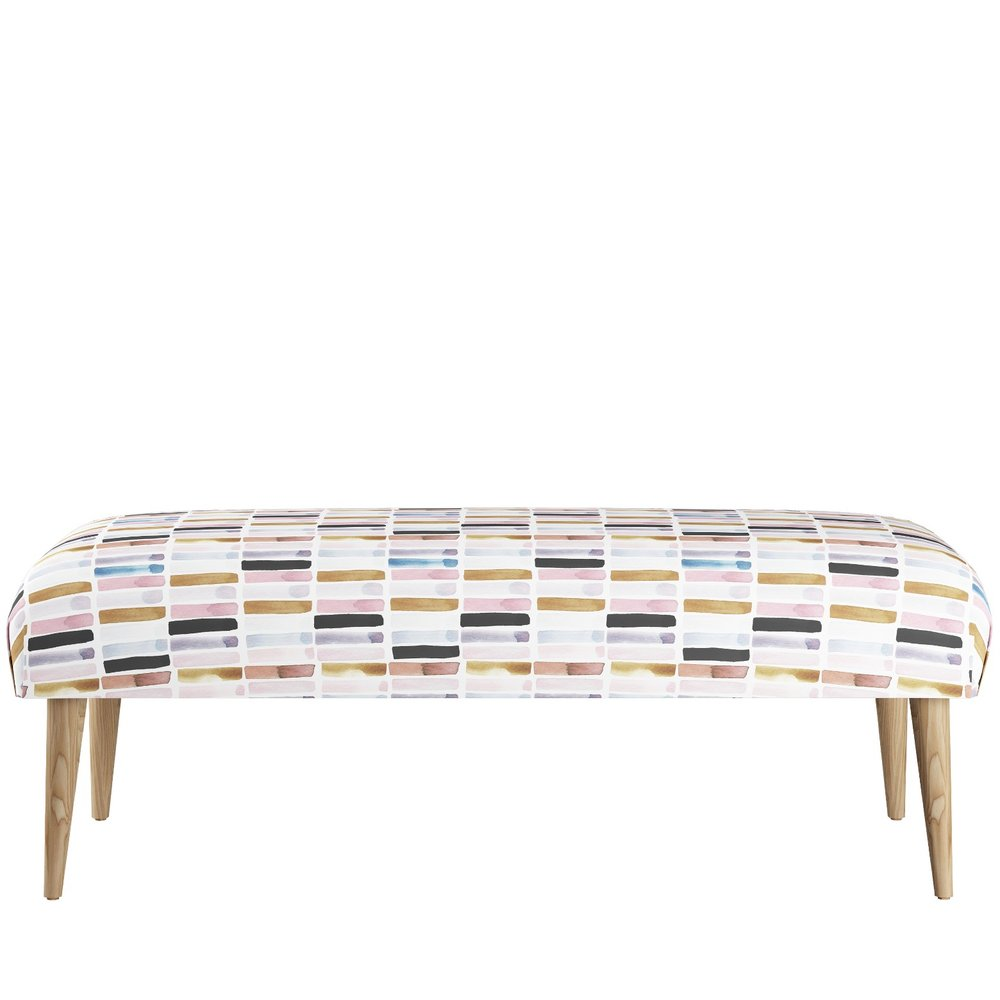 Bench with Cone Legs, Soto Block Multi $350 - This upholstered bench with a brushstroke print and sophisticated palette would be equally at home in an entryway or at the foot of the bed.