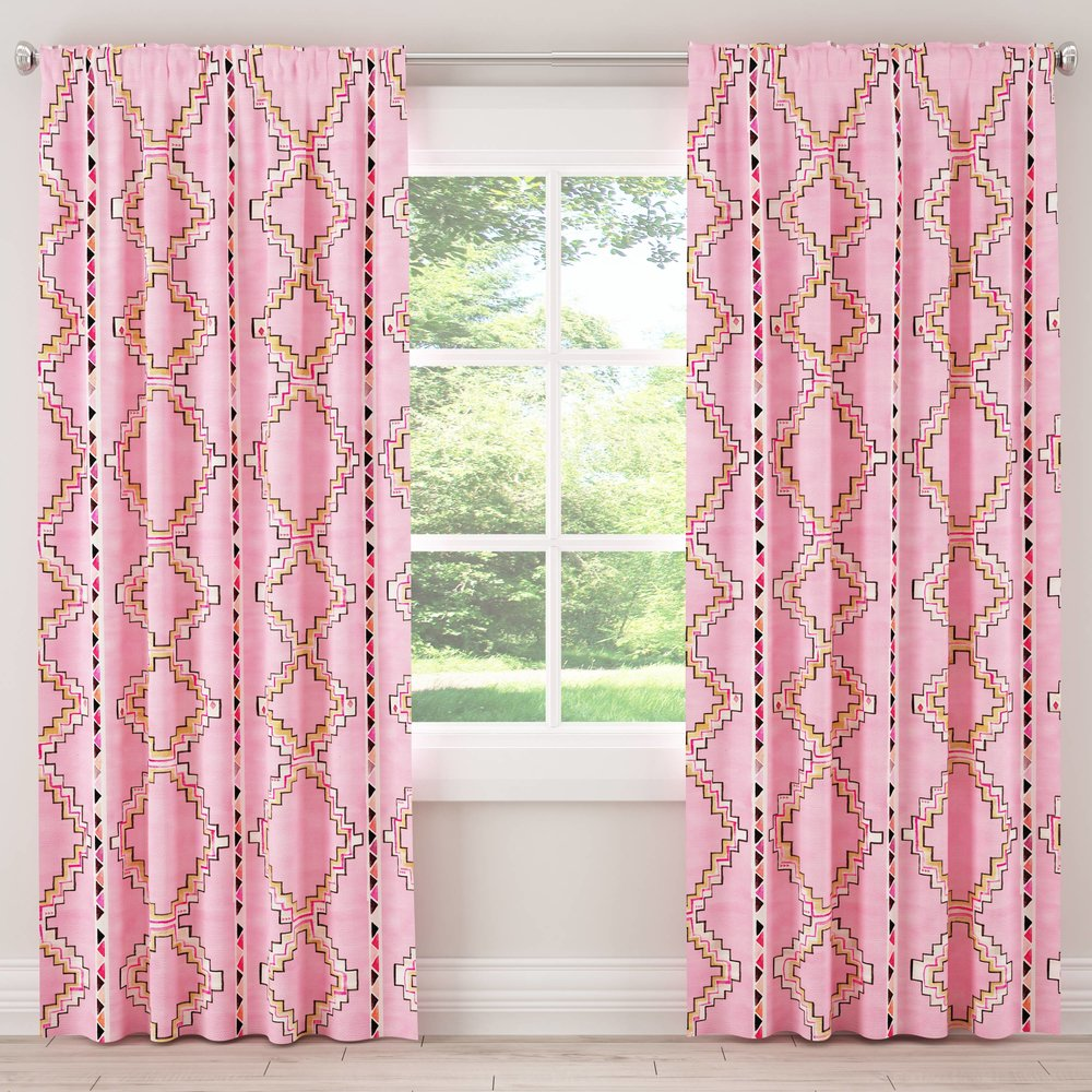 Blackout Curtain, Yuma Light Pink $190 - Attractive blackout curtains can be notoriously difficult to find, this graphic print transforms a piece with some serious utility into a colorful statement.